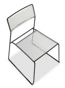 Log spaghetti, Sedia in metallo impilabile, seduta e schienale in corda PVC, anche per uso esterno