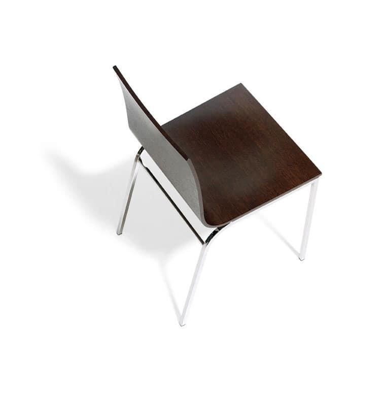 Sedia in legno e metallo cromato, per bar | IDFdesign