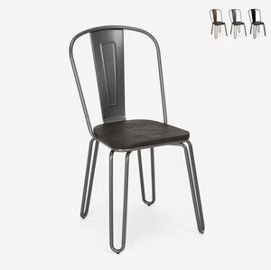 Sedie design industriale stile Tolix acciaio per bar e cucina Ferrum One SM9034WO, Sedia in stile industrial