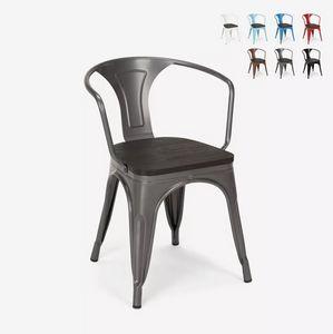 Sedie design metallo legno industriale stile Tolix bar cucine Steel Wood Arm SM9006WO, Sedia in metallo, con seduta in legno