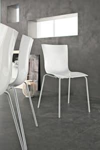 ARIA EASY, Sedia impilabile moderna, metallo plastica, per bar e cucina