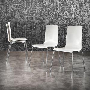 Art. 044 Kris, Sedia in polipropilene bianco, gambe in metallo cromato