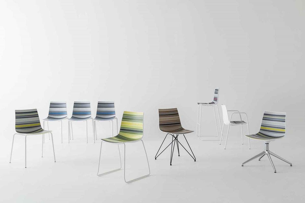 Colorfive L, Sedia con seduta in materiale plastico multicolore