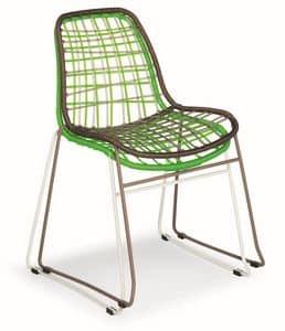 Net, Sedia in metallo e spago sintetico, anche per esterni