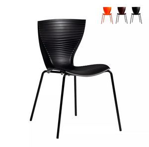 Sedie design moderno Slide Gloria per cucina bar ristorante e giardino SD GLR080, Sedia moderna in polipropilene e metallo