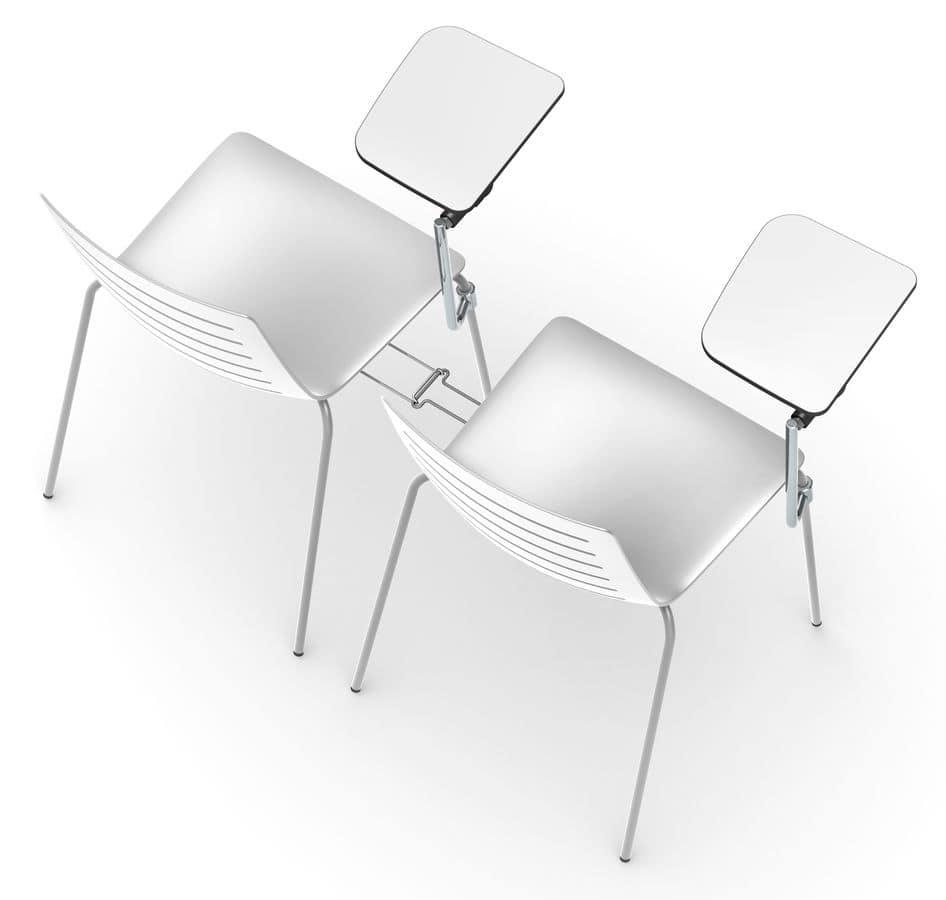 Slim 01, Sedia in metallo e plastica adatta per bar e cucine moderne