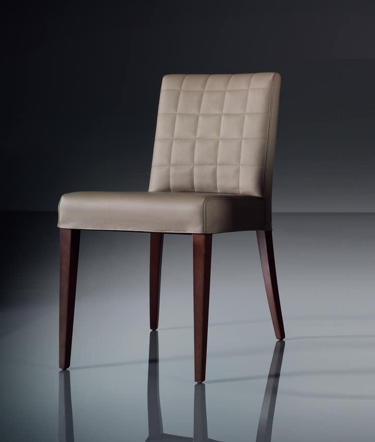 Sedia morbida per salotto moderno, in pelle  IDFdesign