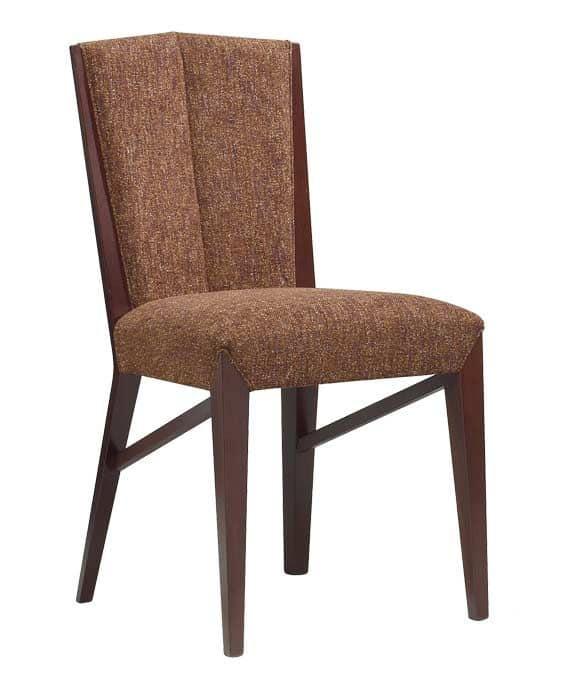 C30, Sedia in legno, seduta e schienale imbottiti, per ambienti contract e domestici