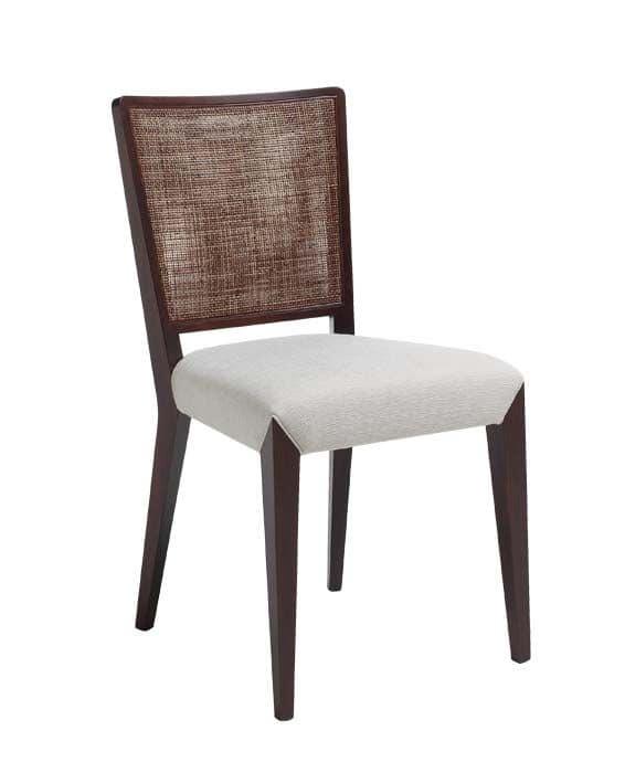 C38, Sedia in legno, seduta imbottita e rivestita in tessuto, schienale in tessuto a rete, per ambienti contract e domestici
