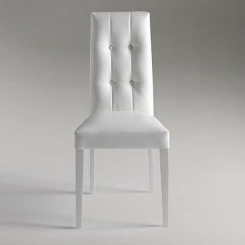 Dallas, Elegante sedia da pranzo con schienale capitonné