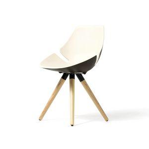 Eon telaio legno, Sedia con scocca imbottita e colorata, per ufficio e casa
