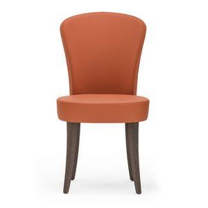 Euforia 00111, Sedia moderna in legno massiccio, seduta e schienale imbottiti