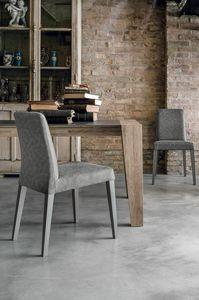 LUCERNA SE514, Sedia moderna in legno massello con scocca in soft touch