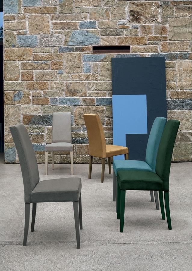 LUGANO SE504, Sedia con base in legno, seduta e schienale imbottiti, ricoperta in tessuto, in stile moderno