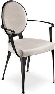 Miss sedia con braccioli e schienale imbottito, Sedia imbottita con struttura in ferro