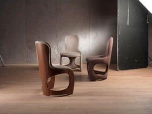 SE49 Venere sedia, Sedia morbida con schienale impiallacciato in noce canaletto