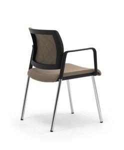 Wiki Tech 4G, Sedia in metallo con braccioli, con schienale a rombi