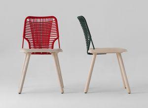ART. 0043-LE JACKIE, Sedia in legno verniciato con schienale in corda