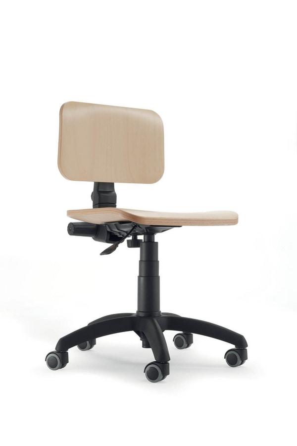 UF 349 - UF 349 Sgabello, Sedia base per ufficio, seduta e schienale in faggio
