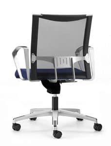AVIANET 3654, Sedia operativa per ufficio, con ruote e schienale in rete