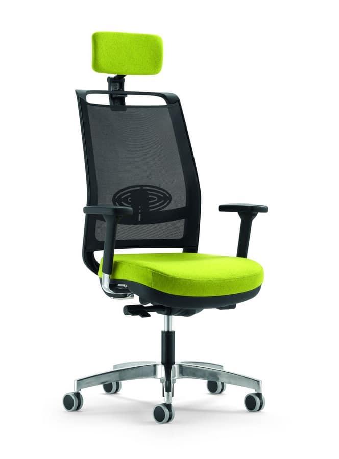 Sedia operativa per ufficio, con schienale in rete | IDFdesign