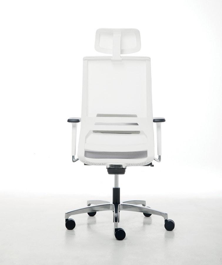 Logica White 01 PT, Sedia operativa, con struttura bianca