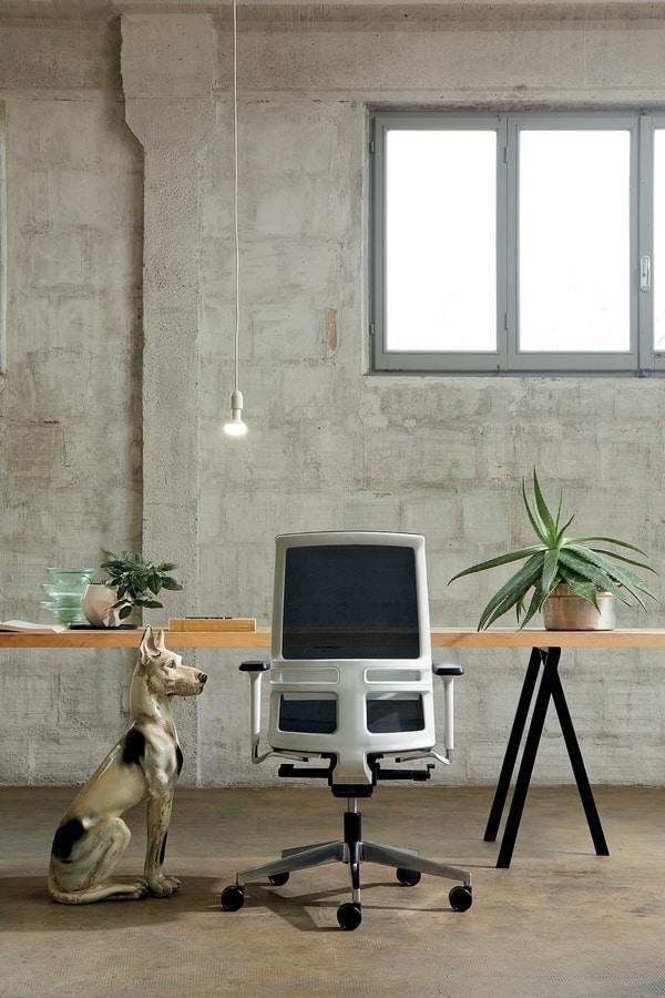 Omnia White 01, Sedia ufficio con struttura bianca