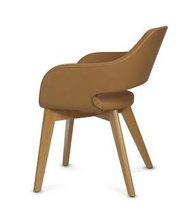 NUBIA 2208, Sedia in pelle con gambe in legno