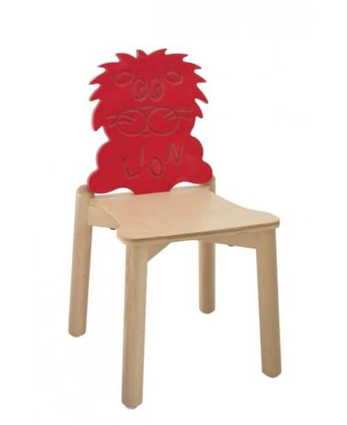 ANIMALANDIA - Lion, Sedia in faggio, schienale originale, per la scuola