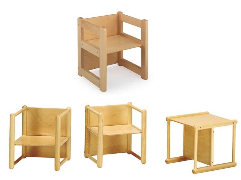 DIXI, Sedia multiuso, in legno di faggio, per bambini