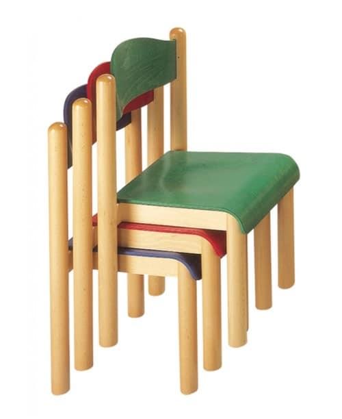 HEIDI, Sedia impilabile, per scuola e asilo, in legno di faggio