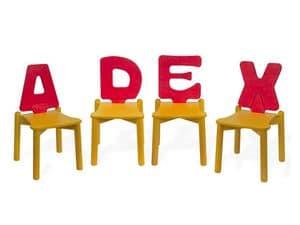 LETTERANDIA, Sedie per l'infanzia, schienale a forma di lettera dell'alfabeto, per ludoteche e asili