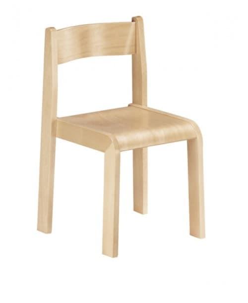 MINNIE, Sedia in legno, vernice atossica, per scuole e asili