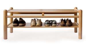 PANCA 920 P2, Panca per bambini con mobiletto portascarpe, struttura in legno di faggio