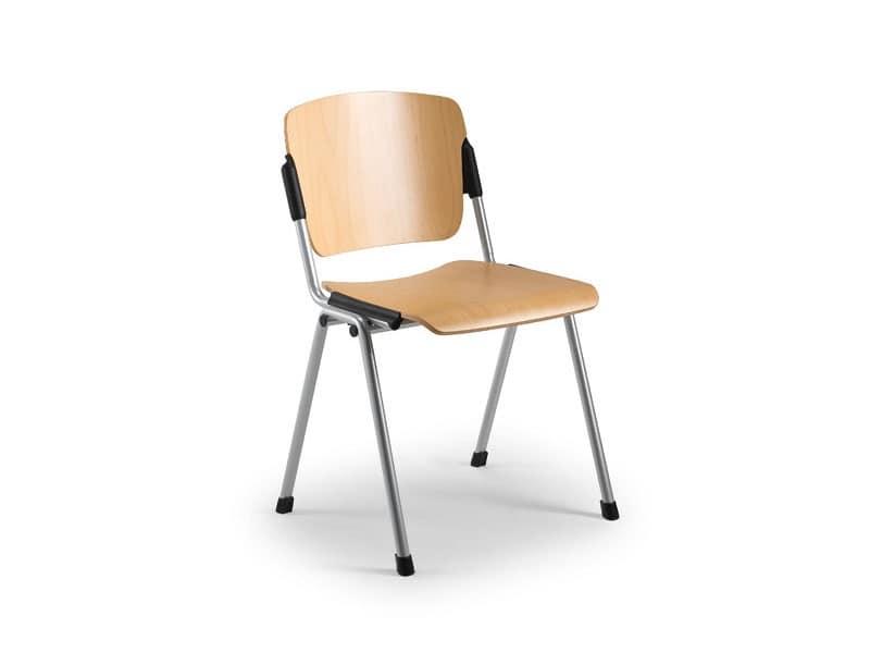 Cortina 6600LE, Sedia con seduta e schienale in multistrato di faggio