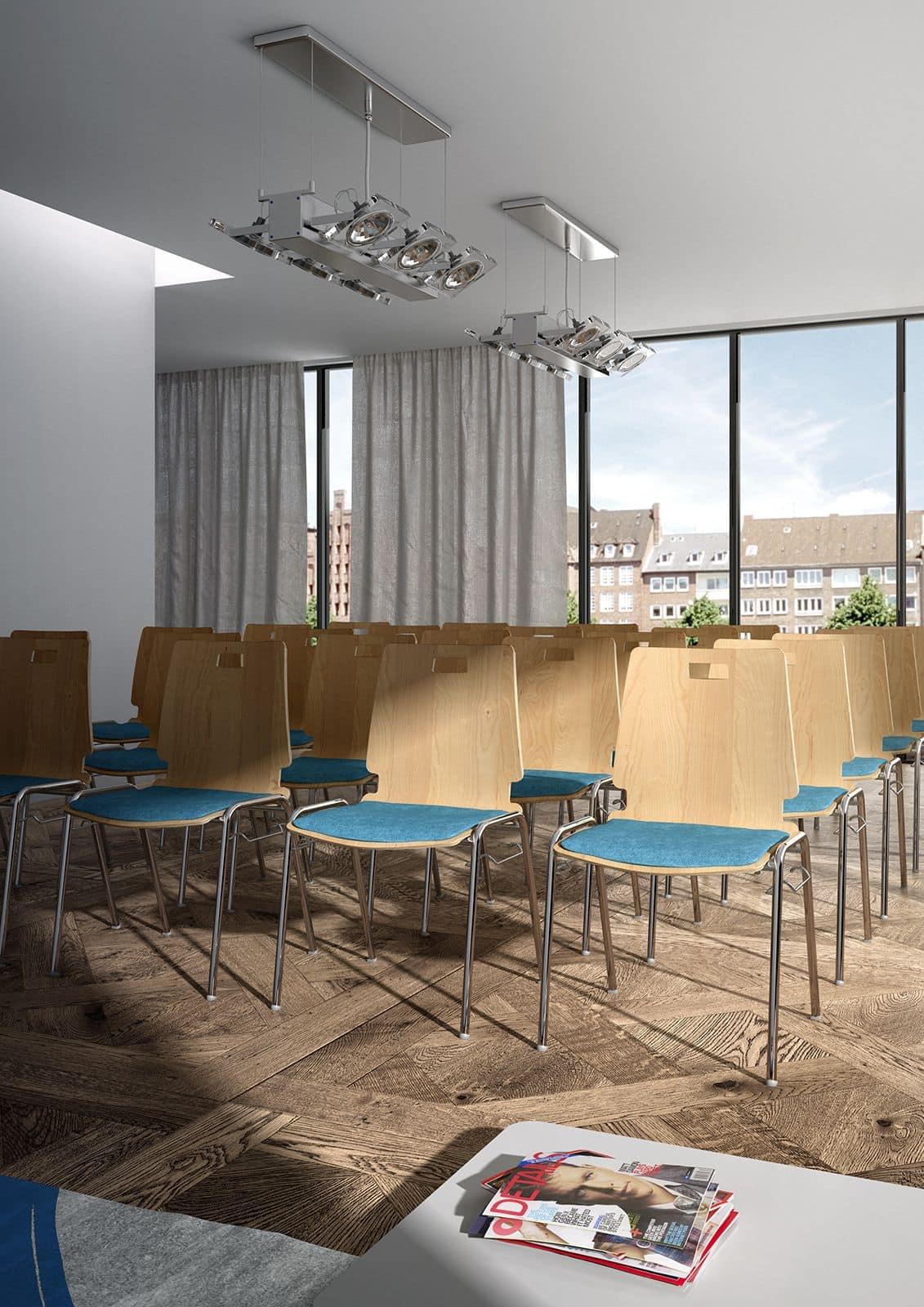 Cristallo 0662LE, Sedia in legno e metallo per sale d'attesa e uffici