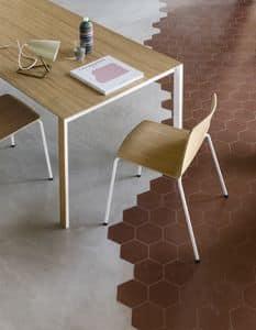Rama Four Legs wood, Sedia design in acciaio e multistrato, robusta e durevole