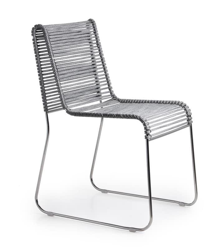 In/Out, Sedia in metallo, seduta in corda intrecciata, per interni ed esterni