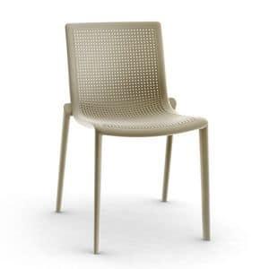 Kirama - S, Sedia moderna, impilabile, resistente, outdoor, in plastica