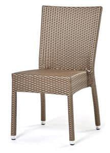 Lotus sedia, Sedia impilabile, intrecciata a mano, base in alluminio