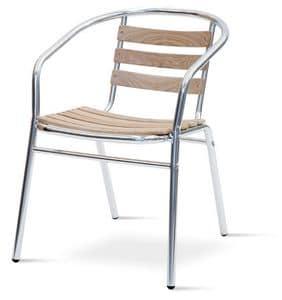 PL 410, Sedia con braccioli in alluminio e teak, per esterni
