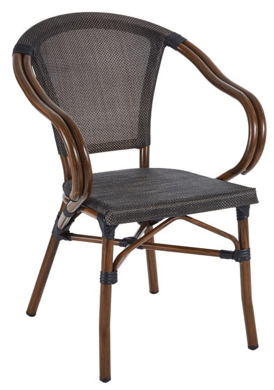 PL 420, Sedia in alluminio e textilene, in stile bamboo