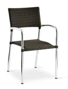 PL 732, Sedia in alluminio, impilabile, intrecciata, per bar