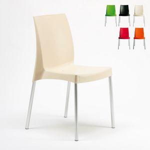 Sedia bar impilabile interno esterno Boulevard � S3340, Sedia in polipropilene, con gambe in alluminio