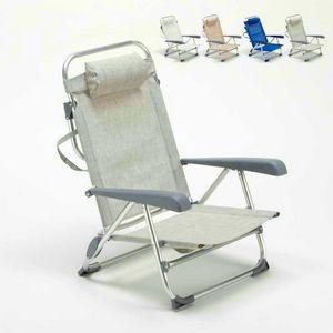 Sedia sdraio spiaggina con braccioli mare alluminio pieghevole spiaggina GARGANO - GA800CSC, Sedia pieghevole da spiaggia con braccioli