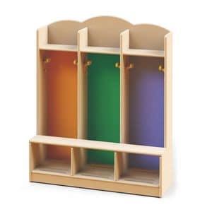 Spogliatoi, Spogliatoio per bambini per asili e scuole materne, realizzato con vernici atossiche, diversi colori