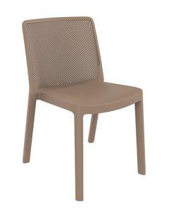 Traforata - S, Sedia in polipropilene con schienale traforato, per esterni