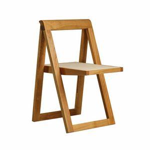 Ciak 5188, Sedia pieghevole in legno, con seduta in pelle