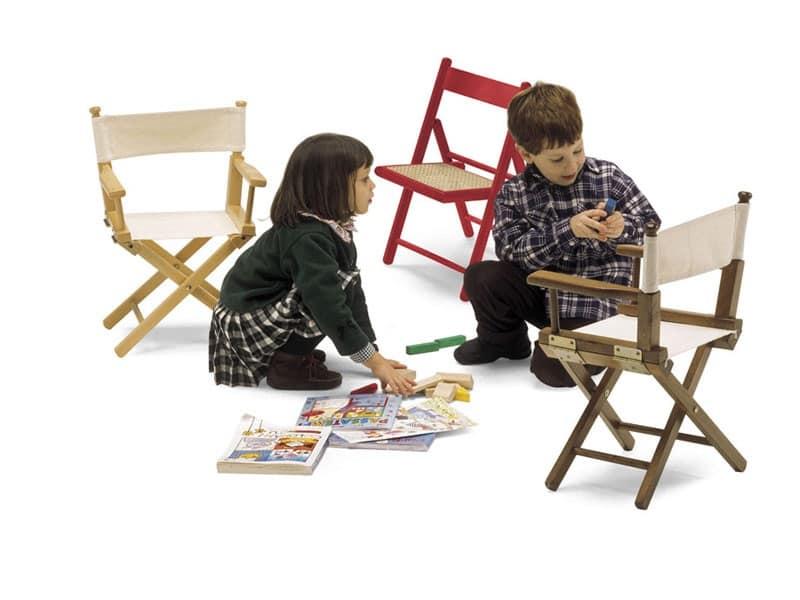 Mini Regista P, Sedia pieghevole in legno e tessuto, per bambini