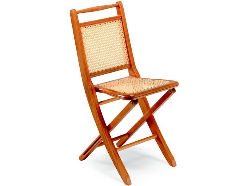 Paola, Sedia pieghevole in legno, seduta e schienale in canna